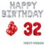 Feest-vieren 32 jaar Verjaardag Versiering Ballon Pakket rood & zilver