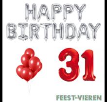 31 jaar Verjaardag Versiering Ballon Pakket rood & zilver