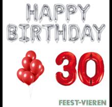 30 jaar Verjaardag Versiering Ballon Pakket rood & zilver