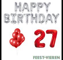 27 jaar Verjaardag Versiering Ballon Pakket rood & zilver
