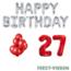 Feest-vieren 27 jaar Verjaardag Versiering Ballon Pakket rood & zilver