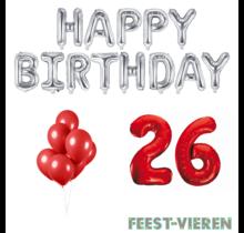 26 jaar Verjaardag Versiering Ballon Pakket rood & zilver
