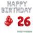 Feest-vieren 26 jaar Verjaardag Versiering Ballon Pakket rood & zilver