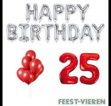 25 jaar Verjaardag Versiering Ballon Pakket rood & zilver