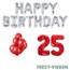 Feest-vieren 25 jaar Verjaardag Versiering Ballon Pakket rood & zilver