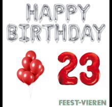 23 jaar Verjaardag Versiering Ballon Pakket rood & zilver