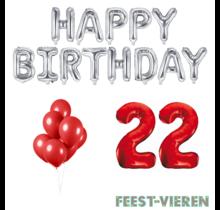 22 jaar Verjaardag Versiering Ballon Pakket rood & zilver