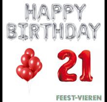 21 jaar Verjaardag Versiering Ballon Pakket rood & zilver