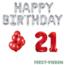 Feest-vieren 21 jaar Verjaardag Versiering Ballon Pakket rood & zilver