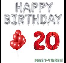 20 jaar Verjaardag Versiering Ballon Pakket rood & zilver