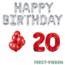 Feest-vieren 20 jaar Verjaardag Versiering Ballon Pakket rood & zilver