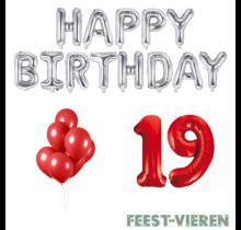 19 jaar Verjaardag Versiering Ballon Pakket rood & zilver