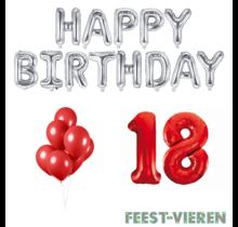 18 jaar Verjaardag Versiering Ballon Pakket rood & zilver
