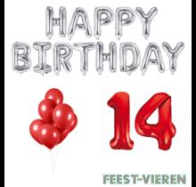 14 jaar Verjaardag Versiering Ballon Pakket rood & zilver