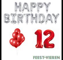 12 jaar Verjaardag Versiering Ballon Pakket rood & zilver