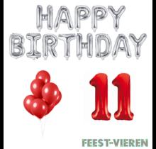 11 jaar Verjaardag Versiering Ballon Pakket rood & zilver