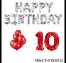 10 jaar Verjaardag Versiering Ballon Pakket rood & zilver