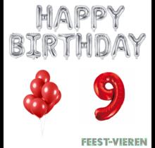 9 jaar Verjaardag Versiering Ballon Pakket rood & zilver