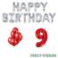 Feest-vieren 9 jaar Verjaardag Versiering Ballon Pakket rood & zilver
