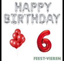 6 jaar Verjaardag Versiering Ballon Pakket rood & zilver