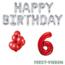 Feest-vieren 6 jaar Verjaardag Versiering Ballon Pakket rood & zilver