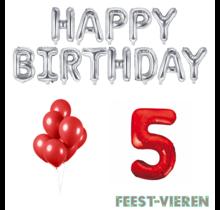 5 jaar Verjaardag Versiering Ballon Pakket rood & zilver