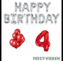 4 jaar Verjaardag Versiering Ballon Pakket rood & zilver
