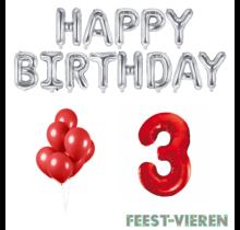3 jaar Verjaardag Versiering Ballon Pakket rood & zilver