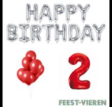 2 jaar Verjaardag Versiering Ballon Pakket rood & zilver