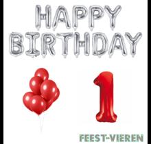1 jaar Verjaardag Versiering Ballon Pakket rood & zilver