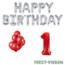 Feest-vieren 1 jaar Verjaardag Versiering Ballon Pakket rood & zilver