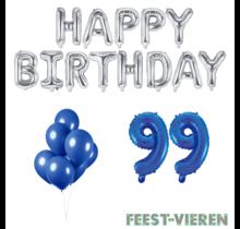 99 jaar Verjaardag Versiering Ballon Pakket Blauw & zilver