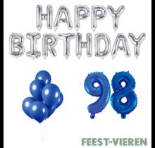 98 jaar Verjaardag Versiering Ballon Pakket Blauw & zilver