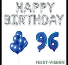96 jaar Verjaardag Versiering Ballon Pakket Blauw & zilver