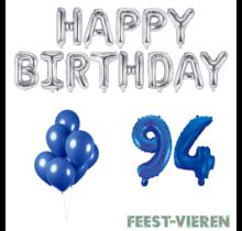 94 jaar Verjaardag Versiering Ballon Pakket Blauw & zilver