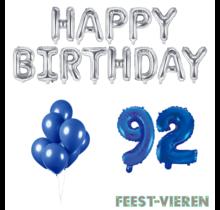 92 jaar Verjaardag Versiering Ballon Pakket Blauw & zilver