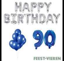 90 jaar Verjaardag Versiering Ballon Pakket Blauw & zilver