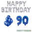 Feest-vieren 90 jaar Verjaardag Versiering Ballon Pakket Blauw & zilver