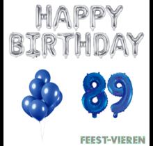 89 jaar Verjaardag Versiering Ballon Pakket Blauw & zilver
