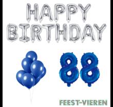 88 jaar Verjaardag Versiering Ballon Pakket Blauw & zilver