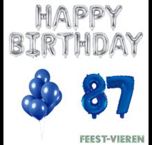 87 jaar Verjaardag Versiering Ballon Pakket Blauw & zilver
