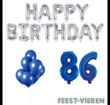 86 jaar Verjaardag Versiering Ballon Pakket Blauw & zilver