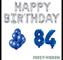 84 jaar Verjaardag Versiering Ballon Pakket Blauw & zilver