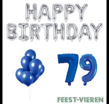79 jaar Verjaardag Versiering Ballon Pakket Blauw & zilver