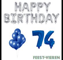 74 jaar Verjaardag Versiering Ballon Pakket Blauw & zilver