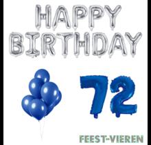 72 jaar Verjaardag Versiering Ballon Pakket Blauw & zilver