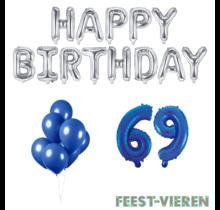 69 jaar Verjaardag Versiering Ballon Pakket Blauw & zilver
