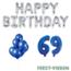 Feest-vieren 69 jaar Verjaardag Versiering Ballon Pakket Blauw & zilver