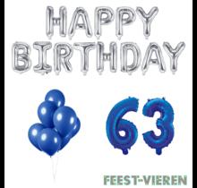 63 jaar Verjaardag Versiering Ballon Pakket Blauw & zilver