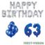 Feest-vieren 63 jaar Verjaardag Versiering Ballon Pakket Blauw & zilver